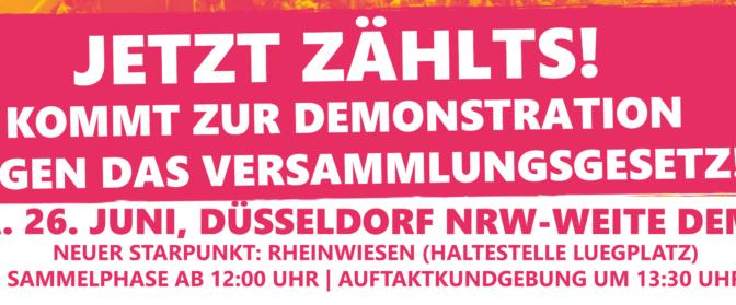 Den Angriff auf die Versammlungsfreiheit abwehren! Großdemonstration am 26.06.2021 in Düsseldorf